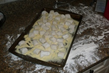 Fresh gnocchi on their way into the fridge
