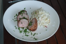 Pork loin with gorgonzola risotto