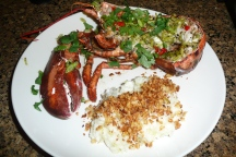 Sticky fingers lobster with spicy pangrattato risott